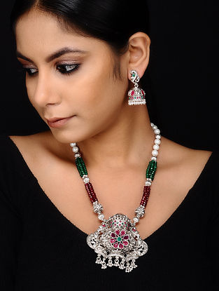 Multicolored Silver Tone Necklace with Jhumki Earrings (Set of 2)