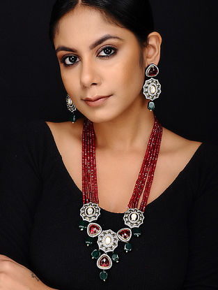 Maroon Green Dual Tone Kundan Necklace with Earrings (Set of 2)