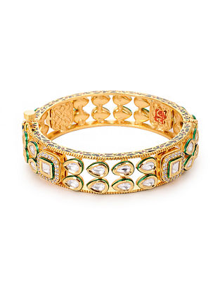 Gold Plated Polki Hinged Opening Bangle (Bangle Size: 2/4)