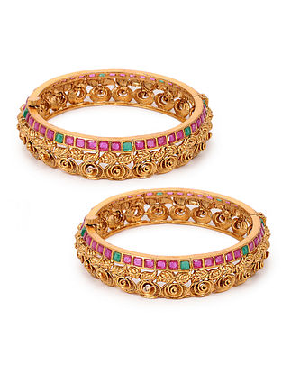 Pink Green Gold Plated Bangles (Set of 2) (Bangle Size: 2/6)