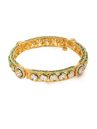 Gold Plated Polki Bangle (Bangle Size: 2/6)