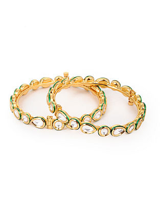 Gold Plated Polki Bangles (Set of 2) (Bangle Size: 2/6)