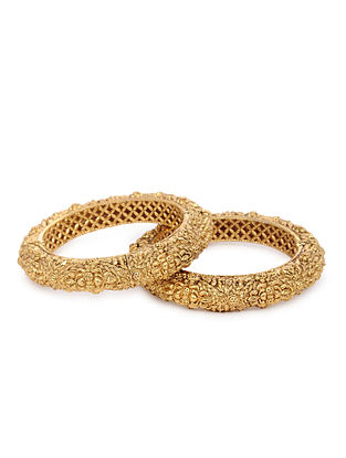 Gold Tone Handcrafted Bangle (Set of 2)