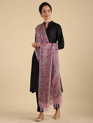 Pink Madhubani Painted Silk Dupatta