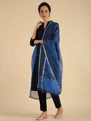 Blue-Black Madhubani Painted Kota Silk Dupatta