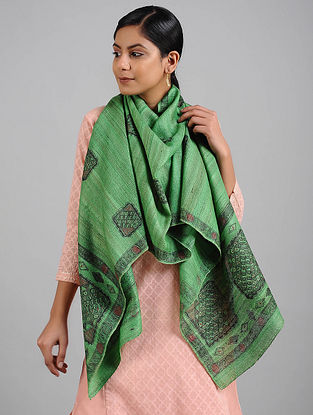 Green Madhubani Painted Tussar Silk Stole