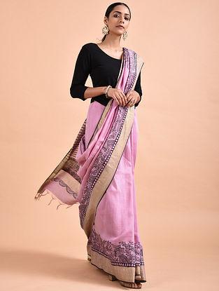 Pink Madhubani-Painted Tussar Silk Saree with Zari