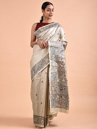 Ivory-Green Madhubani-Painted Tussar Silk Saree