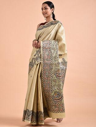 Beige Madhubani-Painted Tussar Silk Saree