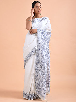 Ivory-Blue Madhubani-Painted Linen Saree