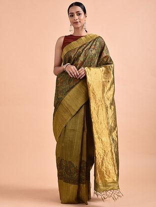 Mustard-Green Madhubani-Painted Tussar Silk Saree with Zari