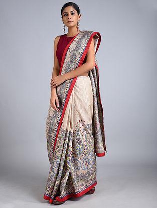 Ivory Madhubani Painted Tussar Silk Saree