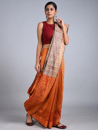 Orange-Beige Madhubani Painted Tussar Silk Saree