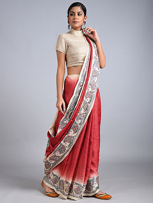 Red-Ivory Madhubani Painted Tussar Silk Saree