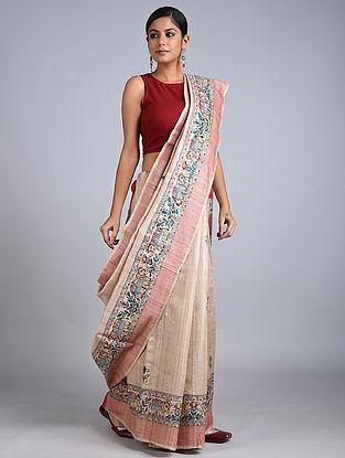 Beige-Pink Madhubani Painted Tussar Silk Saree