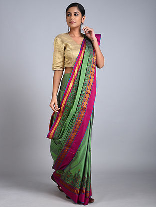 Green-Pink Madhubani Painted Cotton Saree