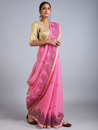 Pink Madhubani Painted Kota Cotton Saree