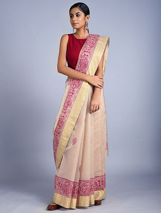 Beige-Red Madhubani Painted Kota Cotton Saree