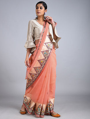 Orange Madhubani Painted Kota Cotton Saree