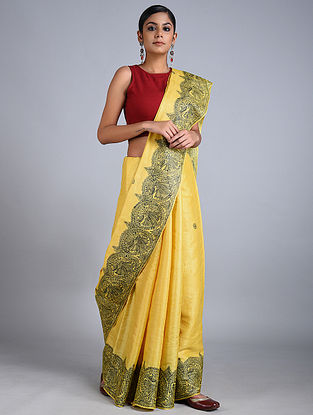 Yellow-Green Madhubani Painted Tussar Silk Saree