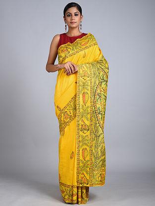 Yellow-Green Madhubani Painted Tussar Silk Saree