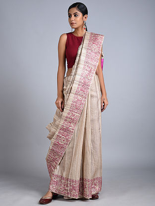 Grey-Purple Madhubani Painted Tussar Silk Saree