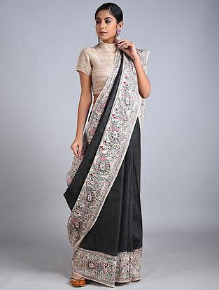 Black-Ivory Madhubani Painted Tussar Silk Saree