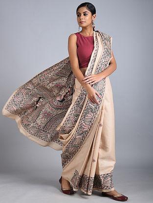 Beige-Green Madhubani Painted Tussar Silk Saree