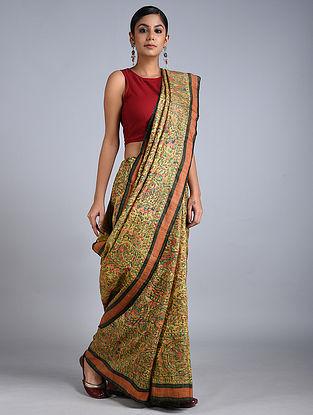Green-Orange Madhubani Painted Silk Saree