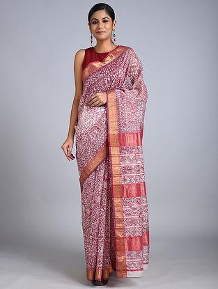 Ivory-Red Madhubani Painted Chanderi Silk Saree