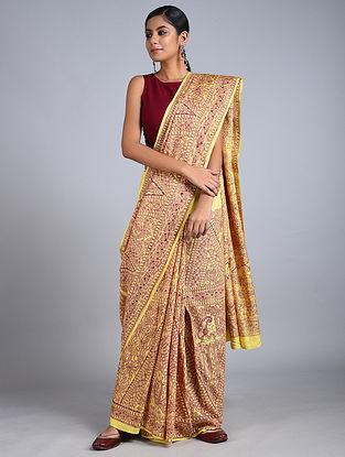 Yellow-Red Madhubani Painted Silk Saree
