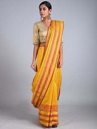 Yellow-Red Madhubani Painted Uppada Silk Saree