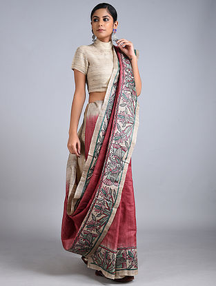 Grey-Red Madhubani Painted Silk Saree