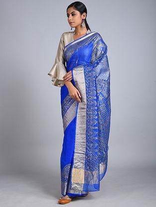 Blue-Silver Madhubani Painted Kota Silk Saree