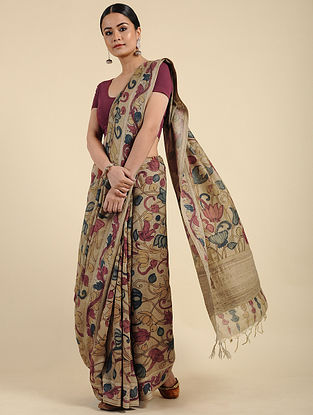Beige Hand Painted Kalamkari Silk Saree
