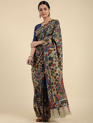 Multicolored Hand Painted Kalamkari Silk Saree