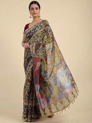 Multicolored Hand Painted Kalamkari Linen Saree