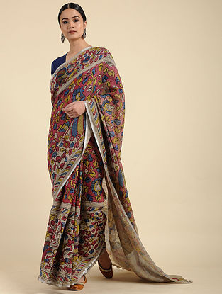 Beige-Red Hand Painted Kalamkari Linen Saree