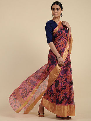 Pink-Blue Hand Painted Kalamkari Kota Silk Saree