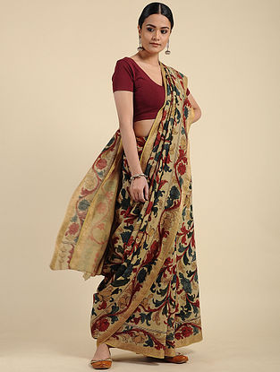 Beige Hand Painted Kalamkari Maheshwari Cotton Saree
