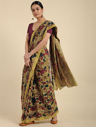 Yellow Hand Painted Kalamkari Maheshwari Cotton Saree