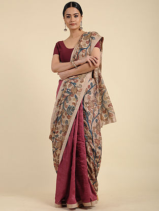 Beige-Red Hand Painted Kalamkari Tussar Silk Saree