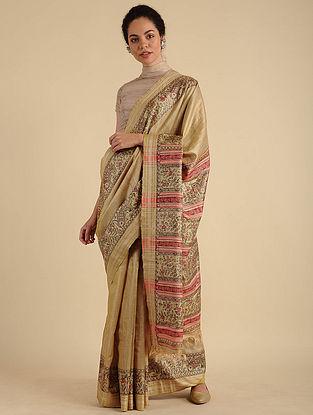 Beige-Red Madhubani Painted Silk Saree