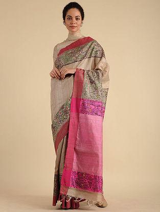 Beige-Pink Madhubani Painted Silk Saree