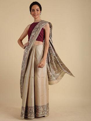 Beige Madhubani Painted Silk Saree