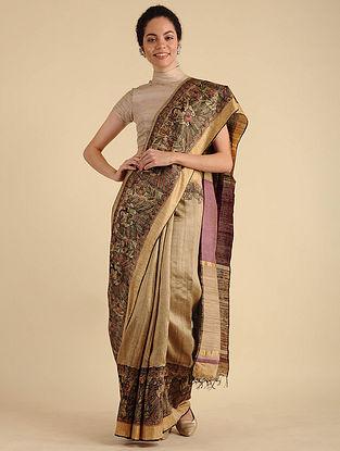 Beige-Purple Madhubani Painted Silk Saree