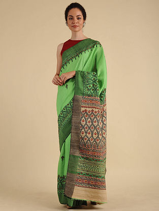 Green Madhubani Painted Silk Saree