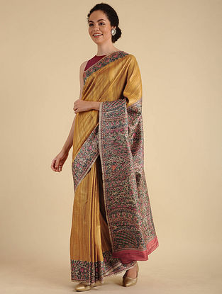Yellow Madhubani Painted Silk Saree