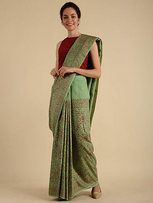 Green-Red Madhubani Painted Silk Saree