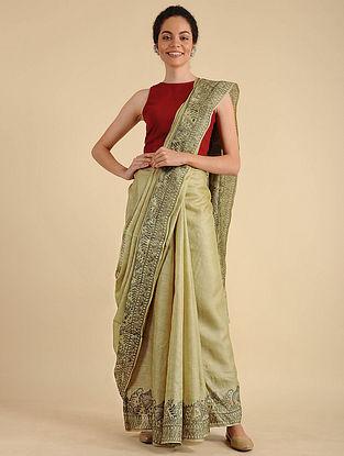 Beige-Black Madhubani Painted Silk Saree